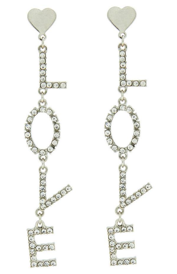 Diamonte Love Drop Earrings
