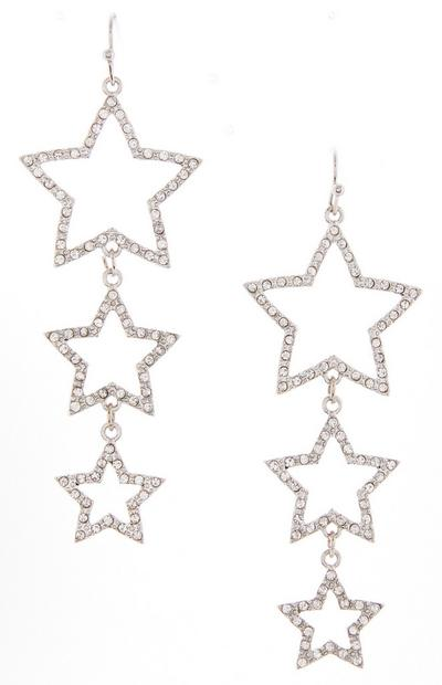 Diamond Triple Star Drop Earrings