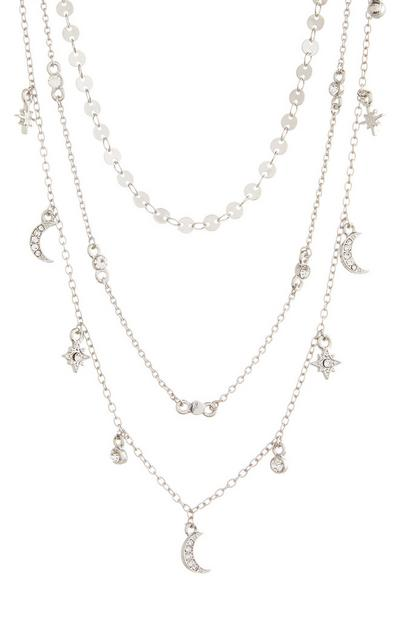 Delicate Silver Multi Row Layered Necklace