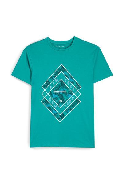 Groen T-shirt met korte mouwen en diamantvormige bladerprint New York