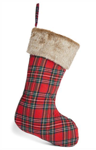 Kerstsok met Schotse ruit