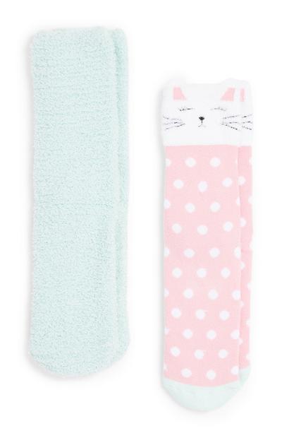Lot de 2 paires de chaussettes confortables chat fille