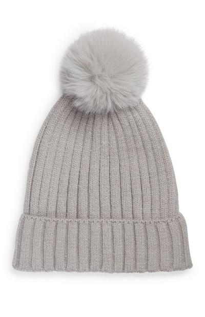 Girl's Gray Faux Fur Pompom Beanie