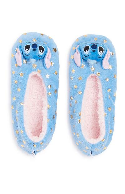Girls Blue Stitch Slippers