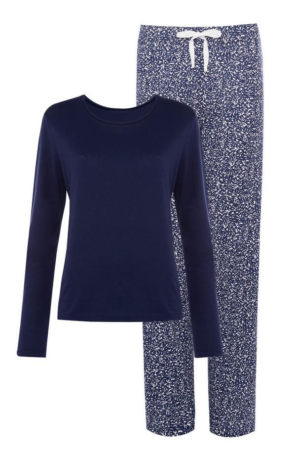 Marineblau-blaues Pyjamaset