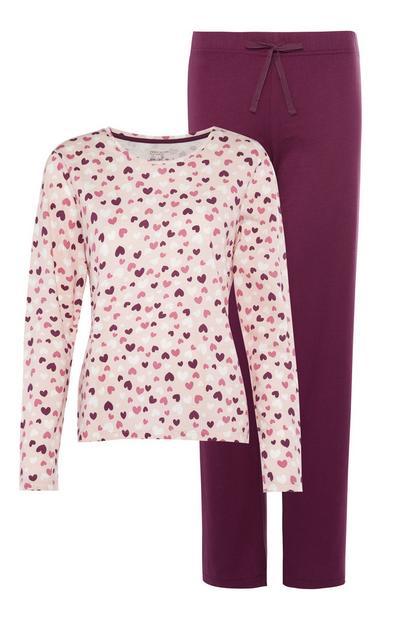 Pink Heart Print Pajama Set
