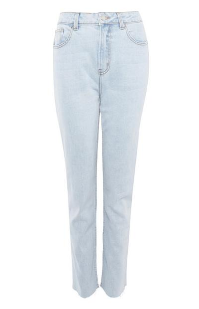 Blue Washed Slim Straight Leg Jeans