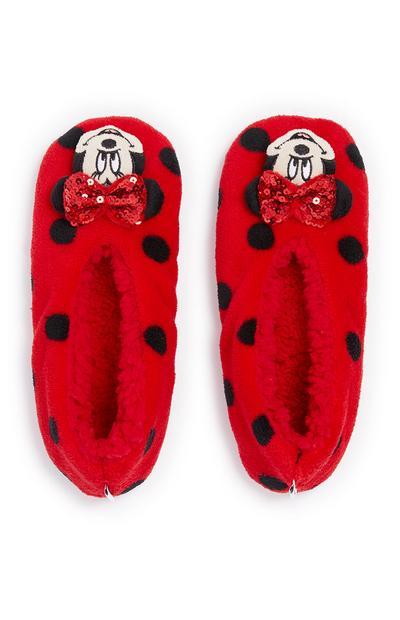 Pantufas Minnie Mouse rapariga vermelho