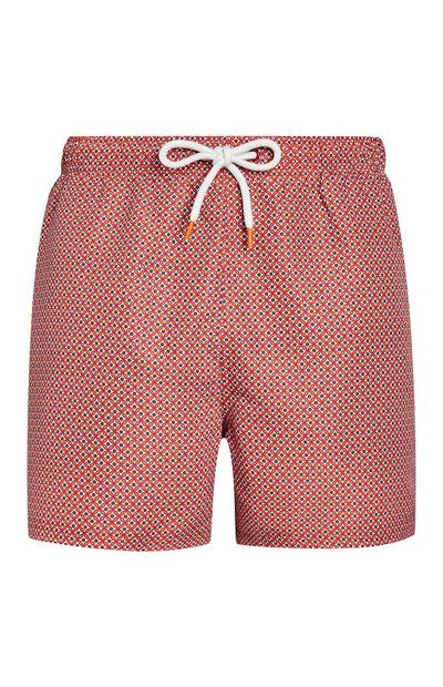 Red Geo Print Swim Shorts