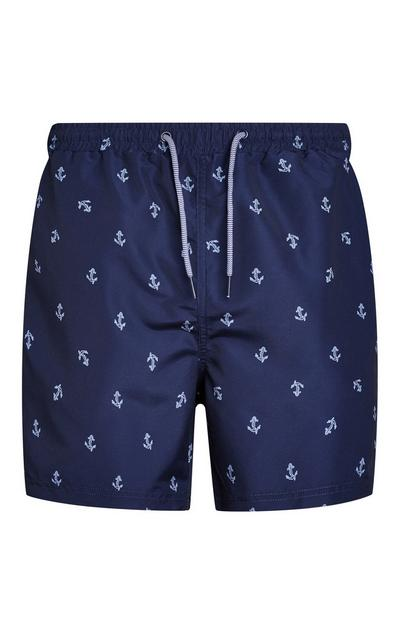 Navy Anchor Print Swim Shorts