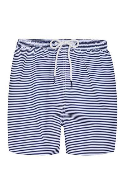 Short de bain bleu et blanc à rayures