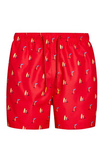 Red Surfboard Print Swim Shorts