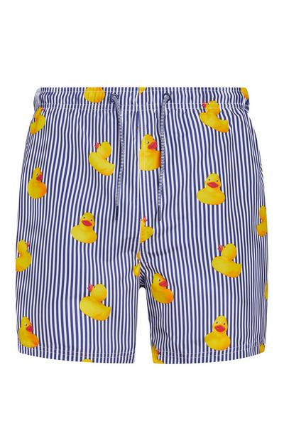 Blue And White Striped Rubber Duck Print Swim Shorts