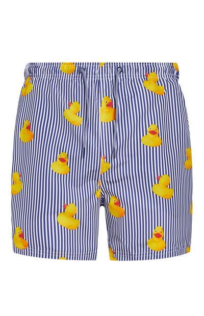 Blue And White Stripe Rubber Duck Print Swim Shorts