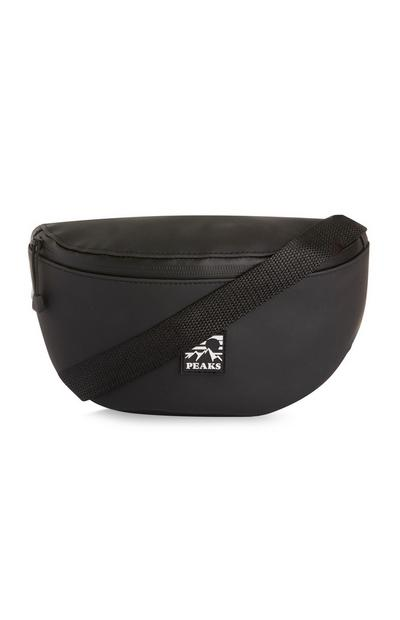 Black Wetlook Fanny Pack