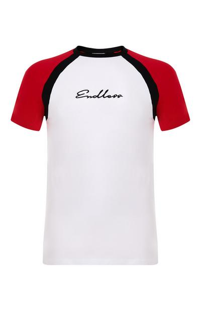 T-shirt mangas raglã Endless painéis branco e vermelho