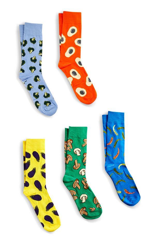 Pack de 5 pares de calcetines con estampado de hortalizas