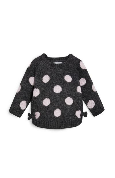 Baby Girl Black and White Polka Dot Sweater