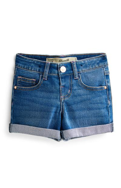 Short en denim bleu à revers fille