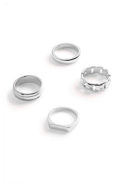 Silberfarbene breite Ringe, 4er-Pack