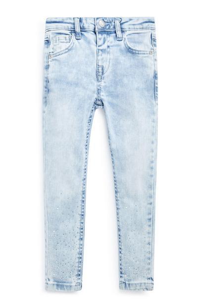 Calças ganga brilhantes menina azul-claro