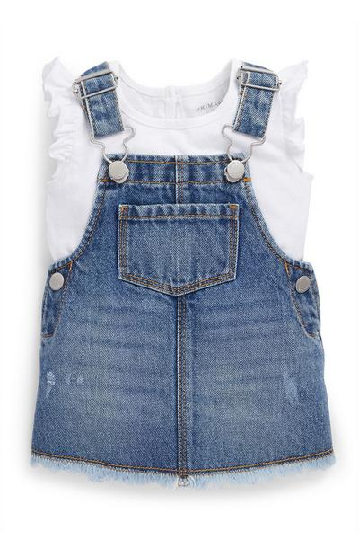 Baby Girl Blue Denim Overall Dress and T-Shirt Set