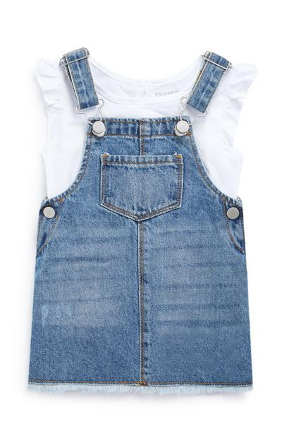 Baby Girl Denim Overall Dress T-Shirt Set