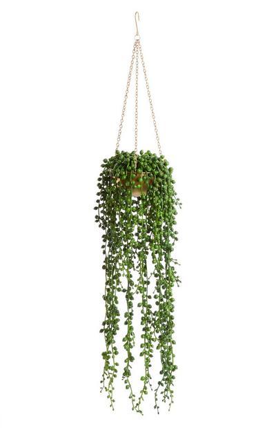 Gold Pot Hanging Faux Plant