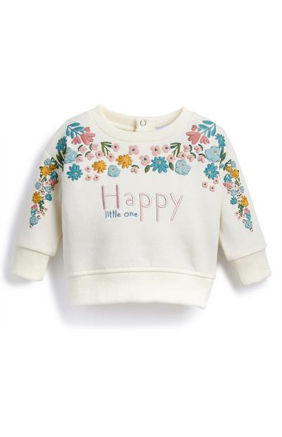 Baby Girl Happy Floral Crew