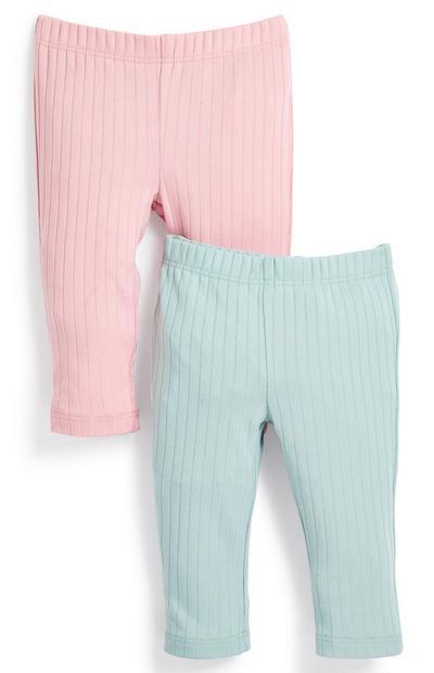 Pack 2 leggings caneladas menina bebé menta/cor-de-rosa