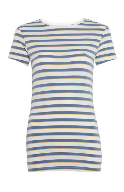 Blue And White Striped Stretch T-Shirt