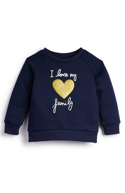 Baby Girl Navy I Love My Family Slogan Crew Jumper