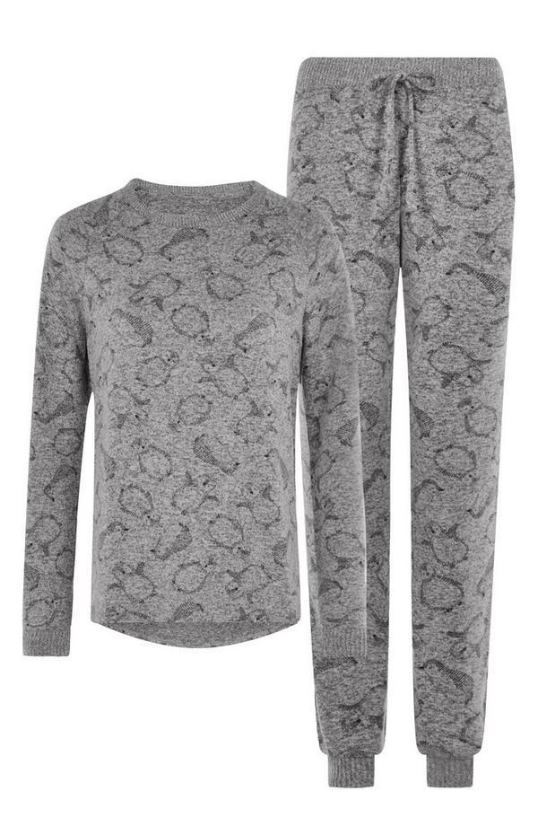 Gray Penguin Pajama Set