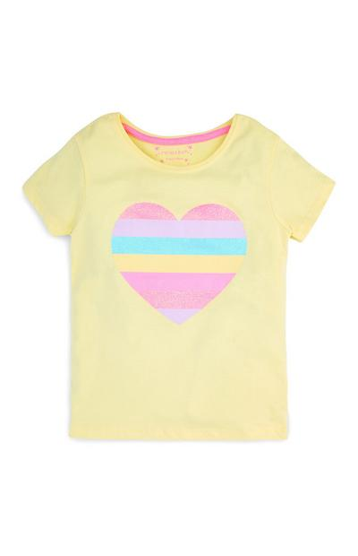 Younger Girls Yellow Heart T-Shirt