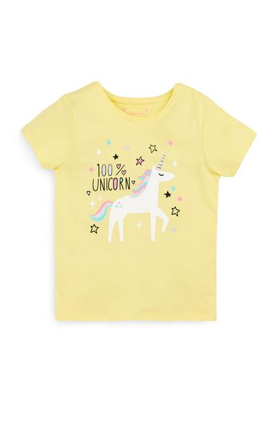 Younger Girl Yellow Unicorn T-Shirt