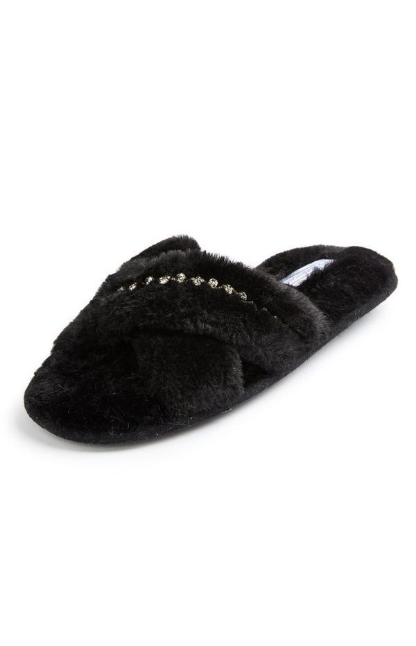 Claquettes noires en fausse fourrure