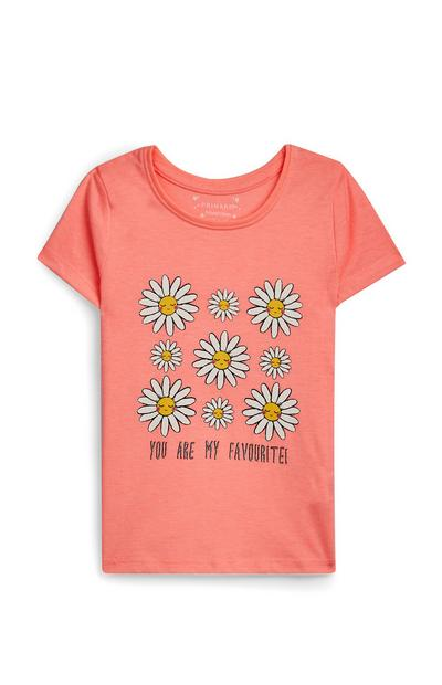 Younger Girl Peach Flower Print Short Sleeve T-Shirt