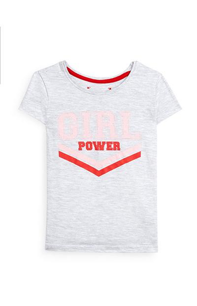 Younger Girl Grey Girl Power Slogan Short Sleeve T-Shirt
