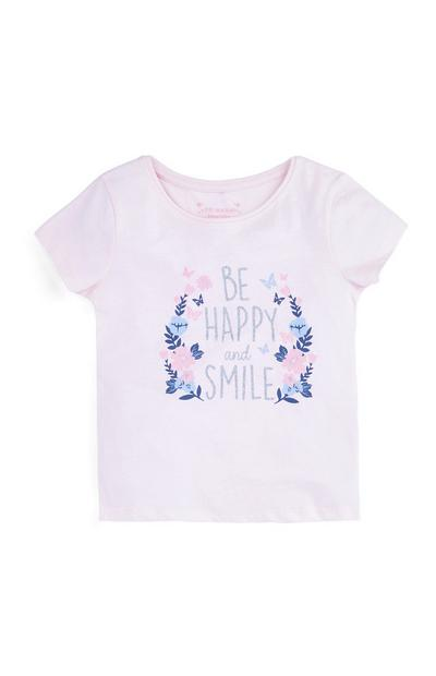 T-shirt met 'Be Happy and Smile' voor meisjes