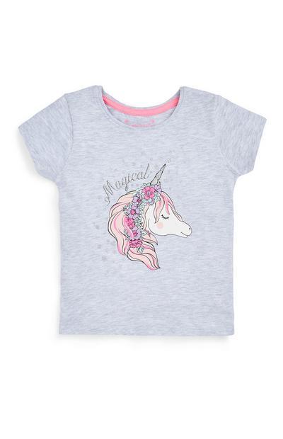 Younger Girl Gray Unicorn T-Shirt