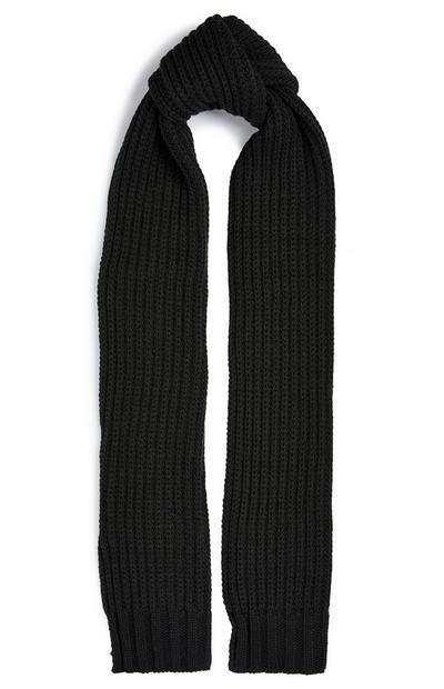 Écharpe noire épaisse en maille côtelée