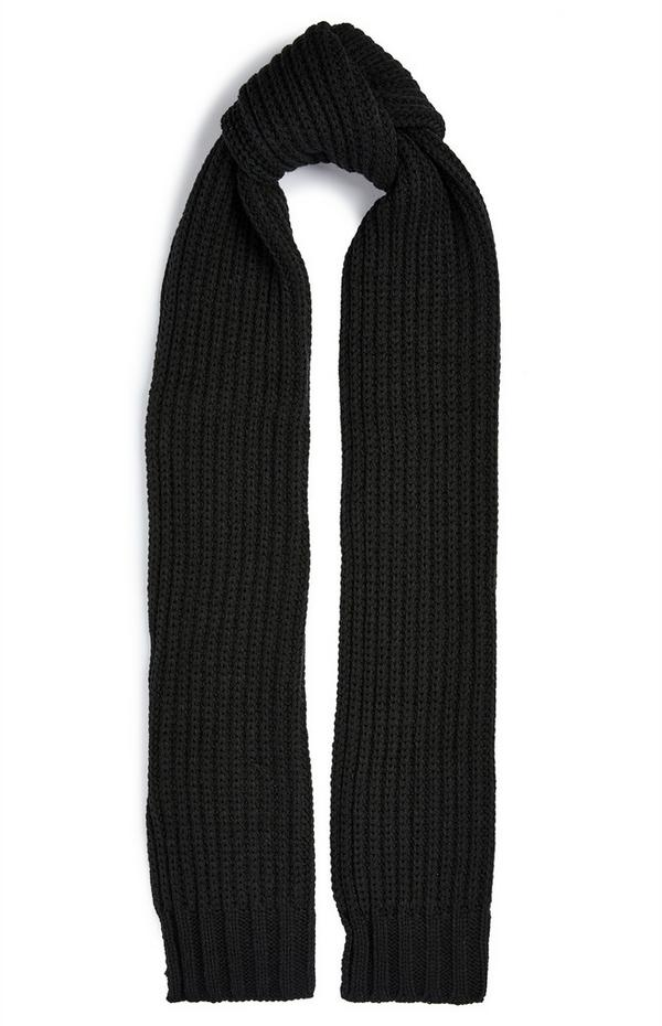 Sciarpa nera spessa a coste