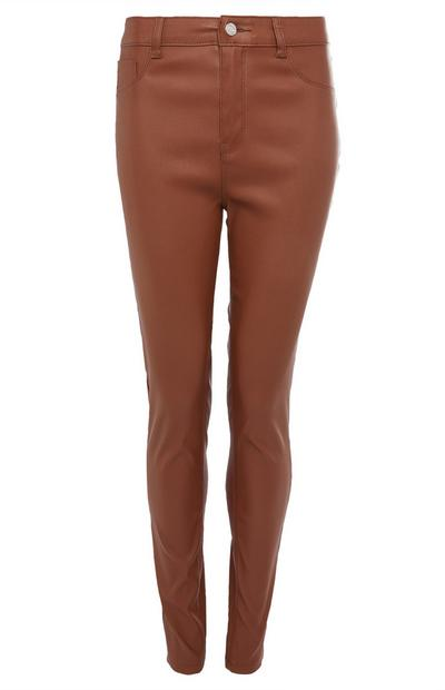 Pantalon skinny marron enduit
