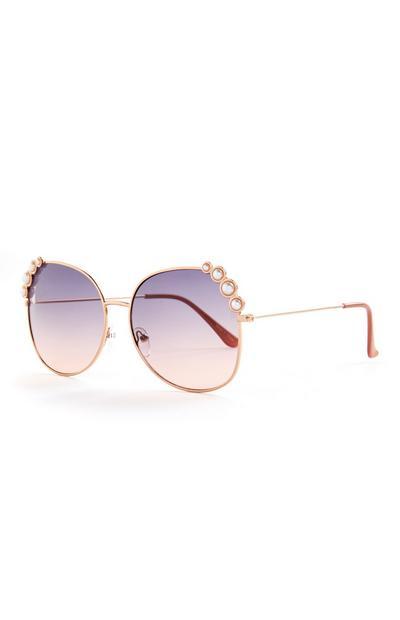 Paarse oversized zonnebril met pareldetail