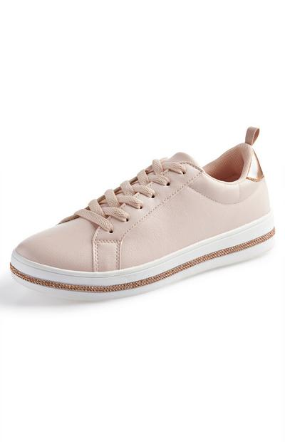 Rose Gold Diamante Low Top Trainers