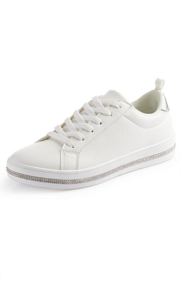 Weiße Low-Top-Sneaker mit Ziersteinen