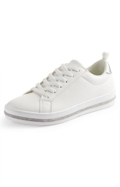 White Diamante Low Top Trainers