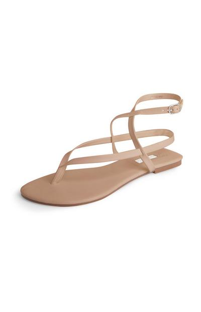 Sandalias de tiras color beige
