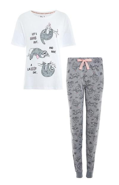 Gray and White Sloth Cotton Pajama Set