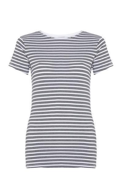 Camiseta elástica de rayas blancas y negras